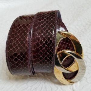 Accessories - Women's Genuine Snakeskin Double Ring Buckle belt